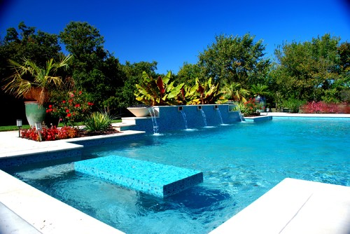 modern pool gardening outdoor