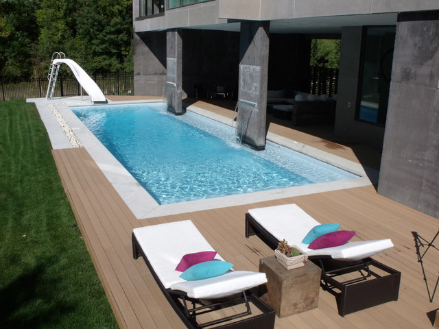 Modern rectangle pool design tropical pool other for Pool spa show winnipeg