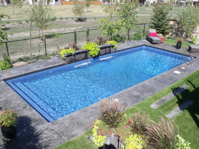 Modern Rectangle Pool Design Tropical Swimming Pool And Hot Tub