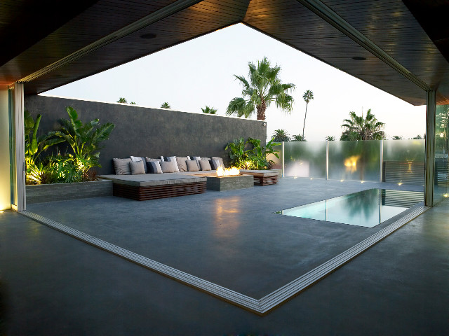 Modern Rooftop Outdoor Entertainment Area Modern Pool
