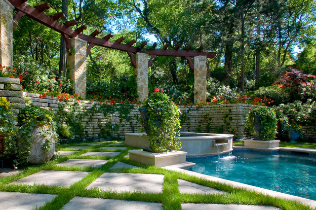 Secluded private retreat garden pool dallas by for Garden designs around pools