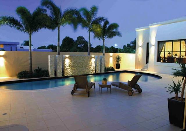 Modern White Stone Pool Modern Pool Miami By