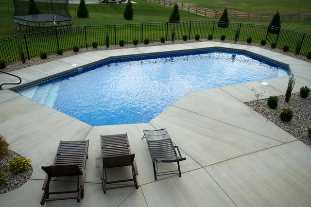 Modified rectangle lazy l traditional pool for Pool design louisville ky