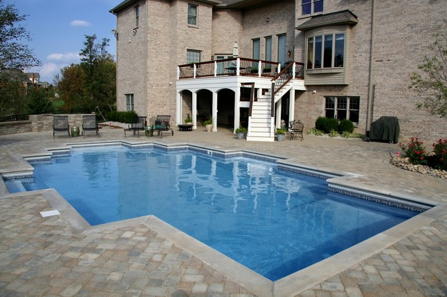 Modified Rectangle Vinyl Liner Pool Contemporary Pool