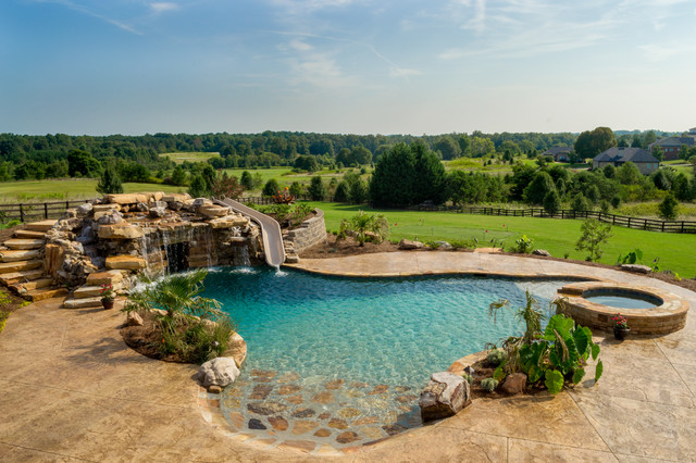 Monroe georgia oasis by white 39 s pools rustic pool for Garden oases pool entrance