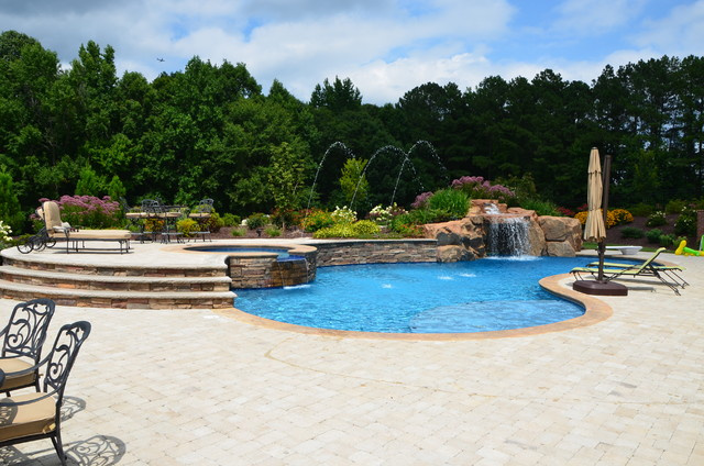 Morrisville cary nc swimming pool waterfall outdoor for Pool design raleigh nc