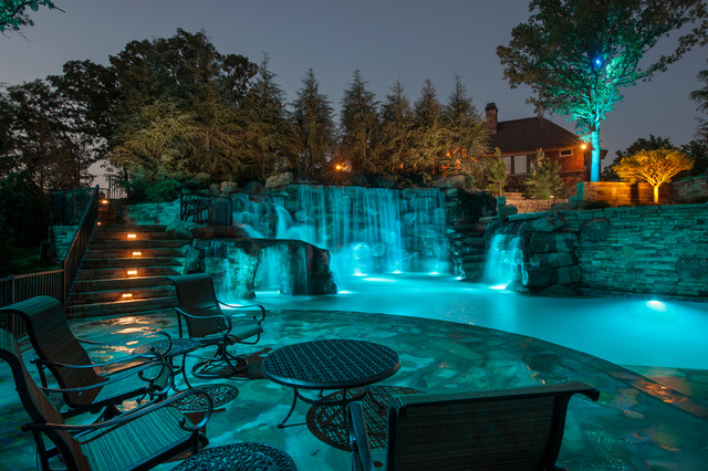 Mountain Mine Themed Pool With Waterfalls Slide And More Rustic Swimming Pool Hot Tub Oklahoma City By Caviness Landscape Design Inc Houzz Uk
