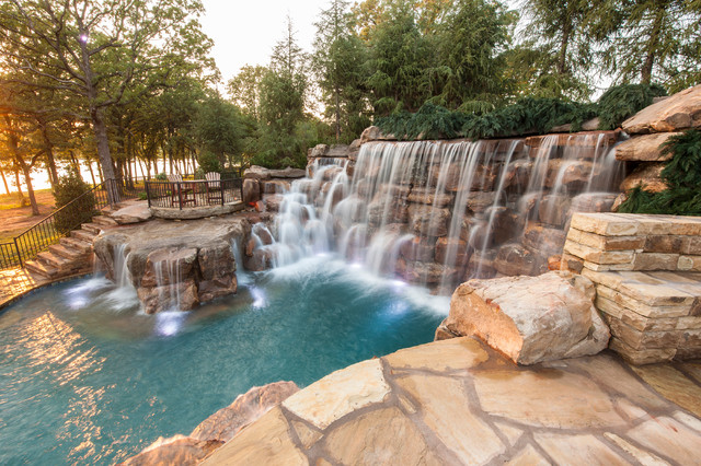Mountain mine themed pool with waterfalls slide and more for Deep swimming pools for garden