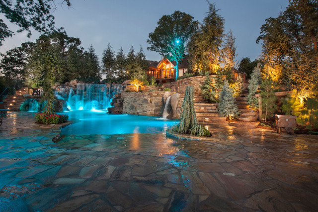 mountain mine themed pool with waterfalls slide and more rustic pool