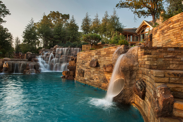 Mountain Mine Themed Pool With Waterfalls Slide And More