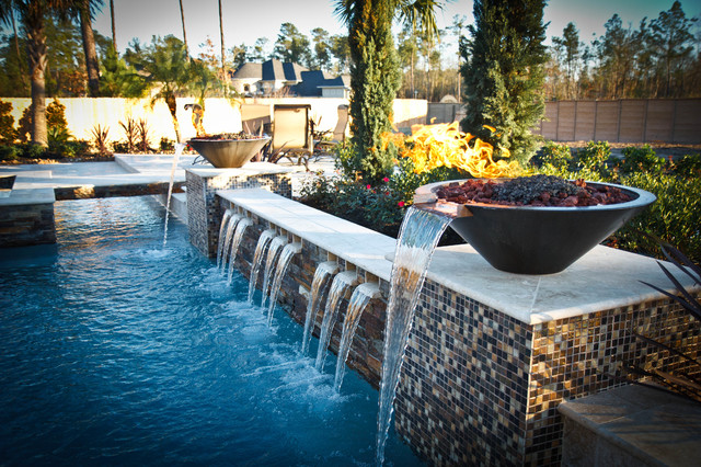 Multi-level Pool with Fire/Water Bowls - Traditional - Pool ...