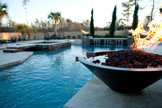 Multi level pool with fire water bowls traditional pool for Pool fire bowls