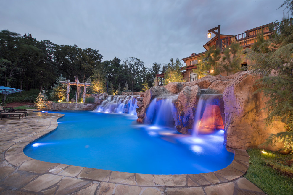 Multi-Level Pool with Rope Swing, Sunken Fire Pit ...