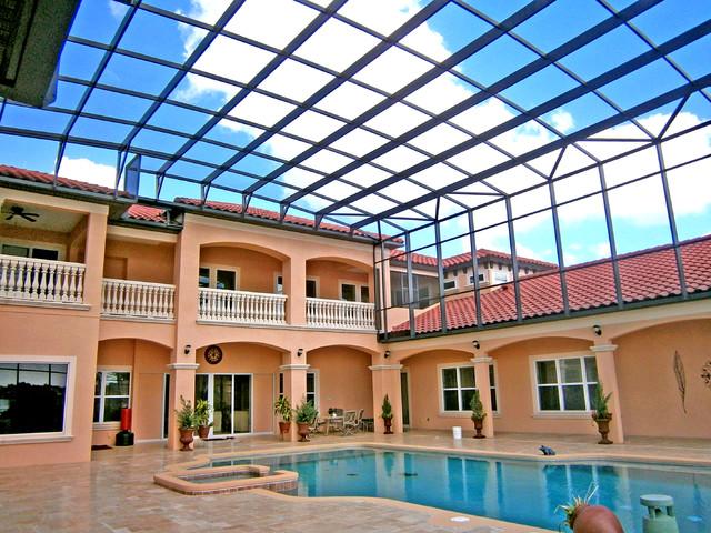 Multi Story Pool Enclosure Mediterranean Pool