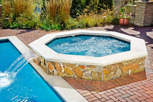 Naperville Il Swimming Pool And Octagonal Hot Tub Mediterranean Pool Chicago By