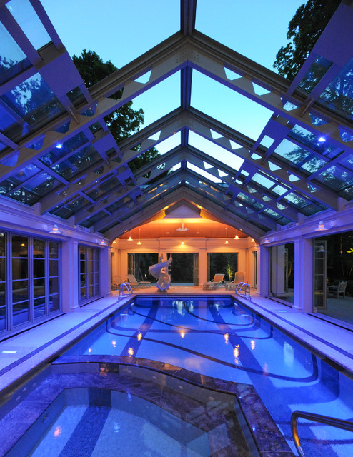 Natatorium aka quotindoor swimming poolquot for Indoor pool with retractable roof