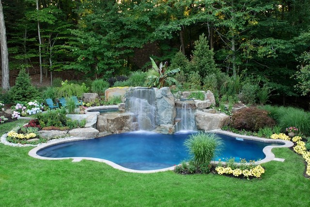 natural backyard swimming pool waterfall design bergen
