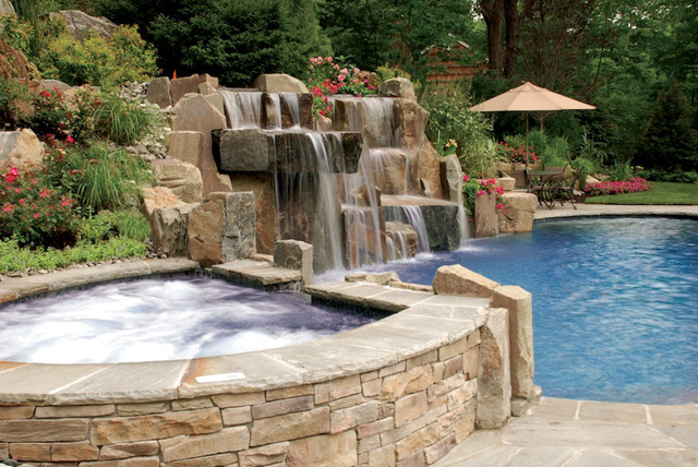 Contemporary Backyard Waterfalls :  Backyard Swimming Pool Waterfall Design Bergen County NJ contemporary