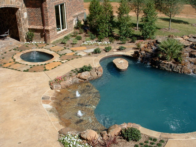 Natural Beach Entry Freeform Pool With Slide Table And