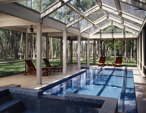Glass House Over Pool