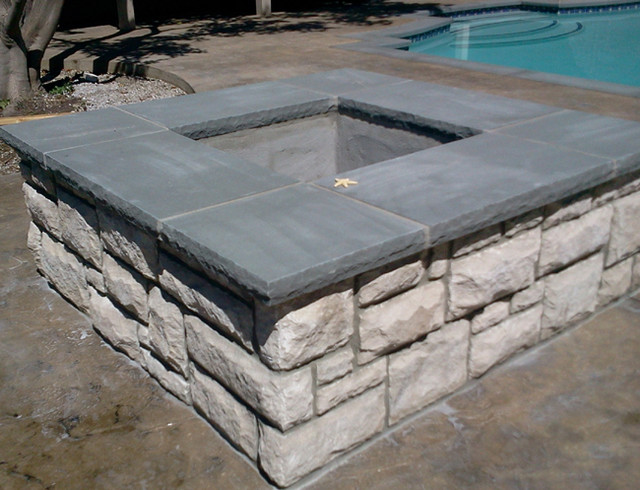 Natural Stone Pool coping, fire pit, and outdoor barbeque ...