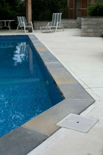 Natural Stone Pool Coping With Concrete Traditional