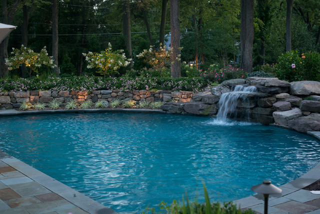 Natural Stone Water Feature In Pool Nj Contemporary