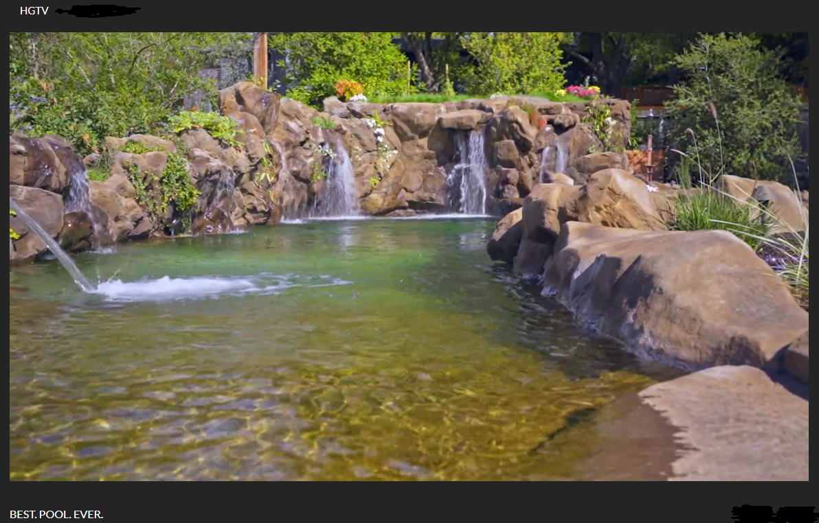 Natural Swimming Pool with Waterfalls and Live Fish