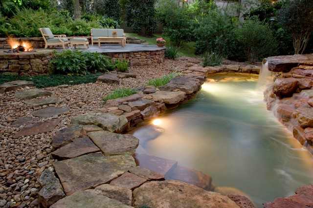 Natural waterfall swimming pool eclectic pool for Exterior worlds landscape design