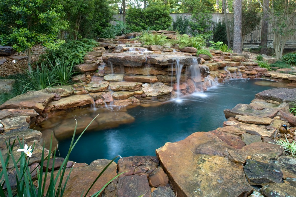 Natural Waterfall Swimming Pool Eclectic Pool Houston By Exterior Worlds Landscaping Design