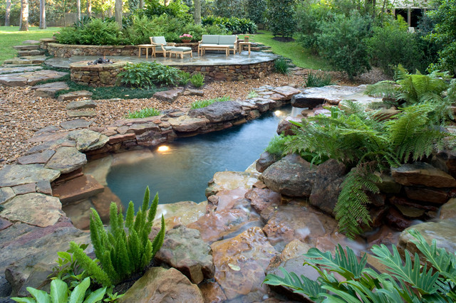 Natural Waterfall Swimming Pool Tropical Pool Houston By Exterior Worlds Landscaping