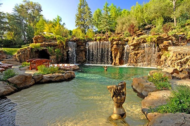 Naturalistic Pools With Grotto Tropical Pool Los