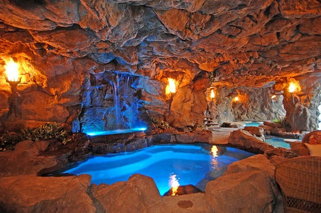 Inside Pool Cave naturalistic pools with grotto - tropical - pool - los angeles
