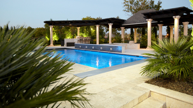 Neoclassic Inspired Garden traditional-pool
