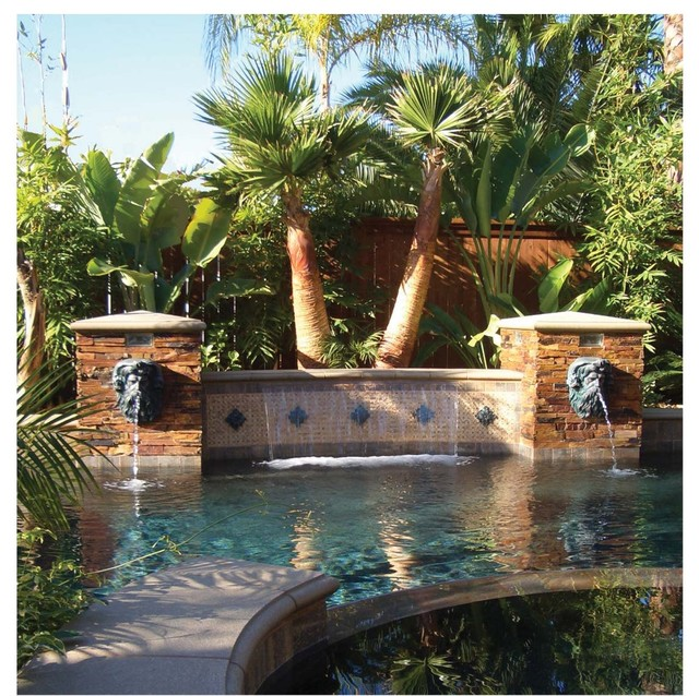 Neptune Head Pool Fountain Mediterranean Pool Tampa By American Tile And Stone
