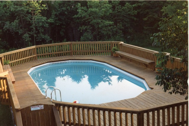 Neshanic deck with built in benches traditional pool for Above ground pool decks for sale