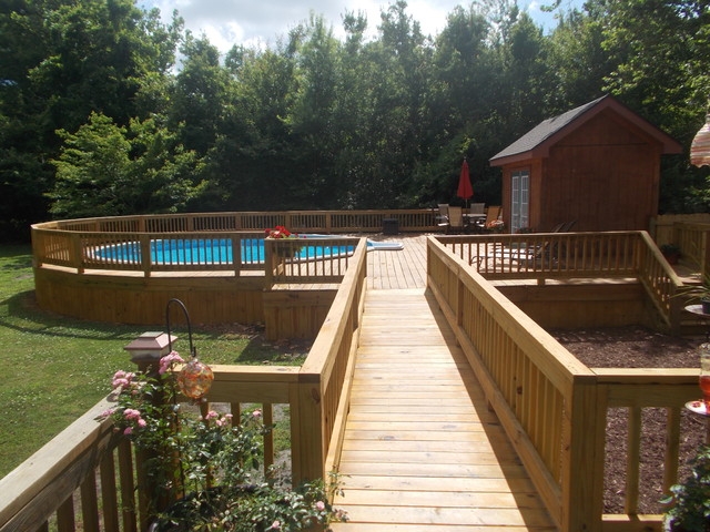 new above ground doughboy pool craftsman pool - Above Ground Pool Deck Off House