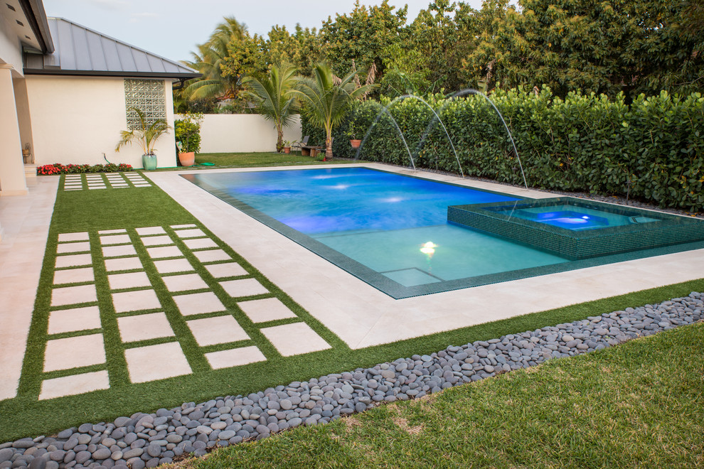 New Straightline Pool With Custom Spa And Custom Landscaping In Miami Florida Modern Pool Miami By Van Kirk Sons Pools And Spas