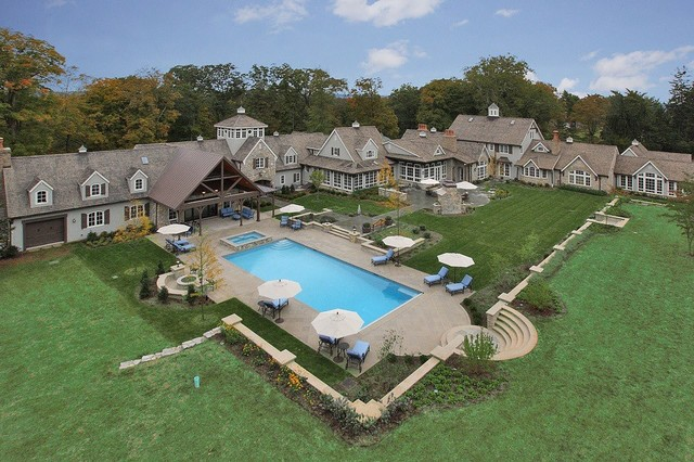 NJ Backyard Swimming Pool Patio Traditional Pool New York