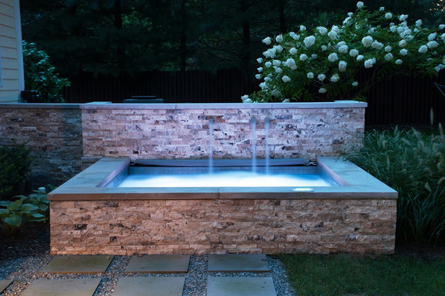 Nj hot tub with water features contemporary pool new for Hot tub landscape design