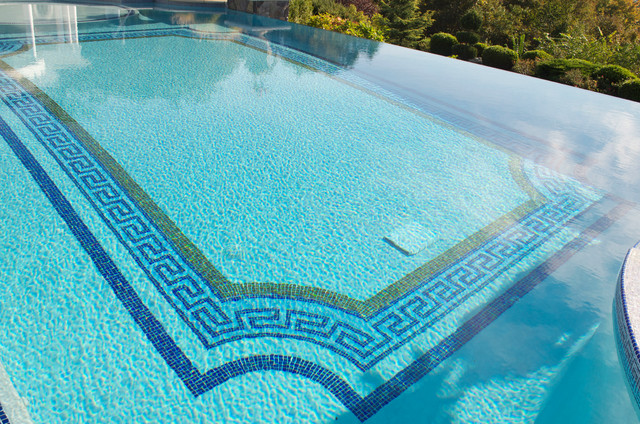 NJ Landscape Architecture Design  Glass Tile Mosaic Infinity Edge Pool  Traditional Swimming Pool