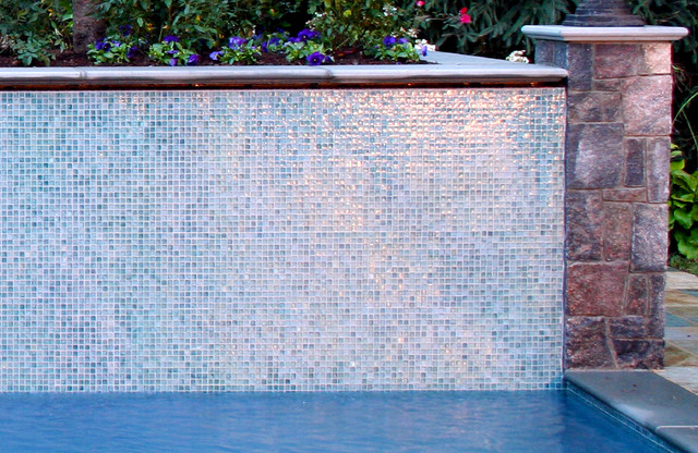 Nj swimming pool glass tile water wall design for Swimming pool wall tiles