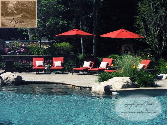 NJ Swimming Pool, Masonry & Landscaping Project traditional-pool