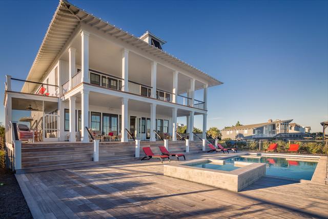 North Litchfield Beach House Coastal Swimming Pool Hot Tub Charleston By Catalyst Architects Llc