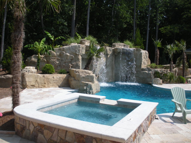 North Raleigh Gunite Pool With Waterfalls Travertine