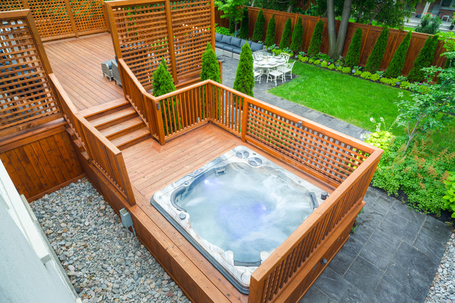 North york backyard makeover eclectic pool toronto for Backyard makeover with pool