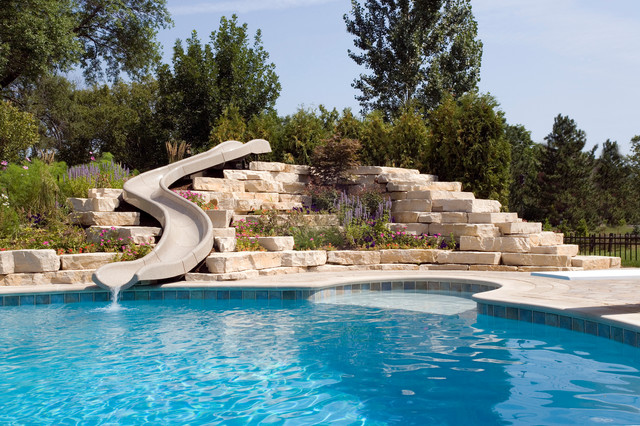 Northbrook, IL Freeform Pool With Hot Tub, Waterfall And Slide Rustic  Swimming