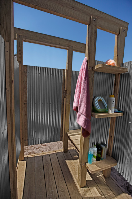 Oak Beach Outdoor Shower Eclectic Pool New York By