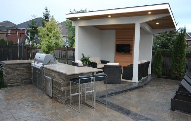 Oakville Backyard Cabana Bbq Pool Contemporary Pool