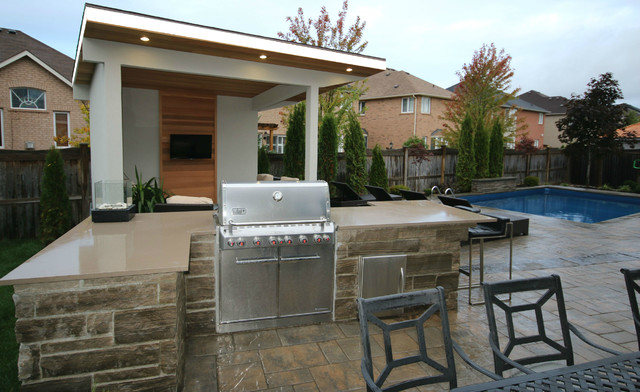 Oakville Cabana Bbq Island Pool Contemporary Pool